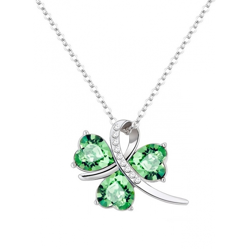Yparah Trèfle Green Necklace- Swarovski's Crystals